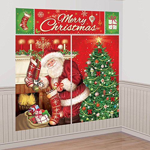 [Very Merry Christmas Party Santa Bringing Gifts Scene Setters Decorating Kit, Vinyl, Pack of 5] (Group Of 5 Halloween Costume Ideas)