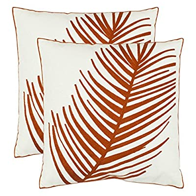 Safavieh Fatima 18 in. Decorative Pillows - Orange - Set of 2 - Constructed of 100% cotton Decorative pillow with hypoallergenic fiberfill insert Features knife edge and hidden zipper closure - living-room-soft-furnishings, living-room, decorative-pillows - 615qLFJ94fL. SS400  -