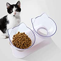 2020 Updated Version 15°Tilted Platform Double Bowl Cat Feeder with Raised Stand Pet Food Bowl Perfect for Cats and Small Dogs