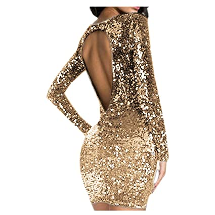 Amazon.com: Midress Women\'s Sparkle Glitzy Glam Sequin Backless Long ...