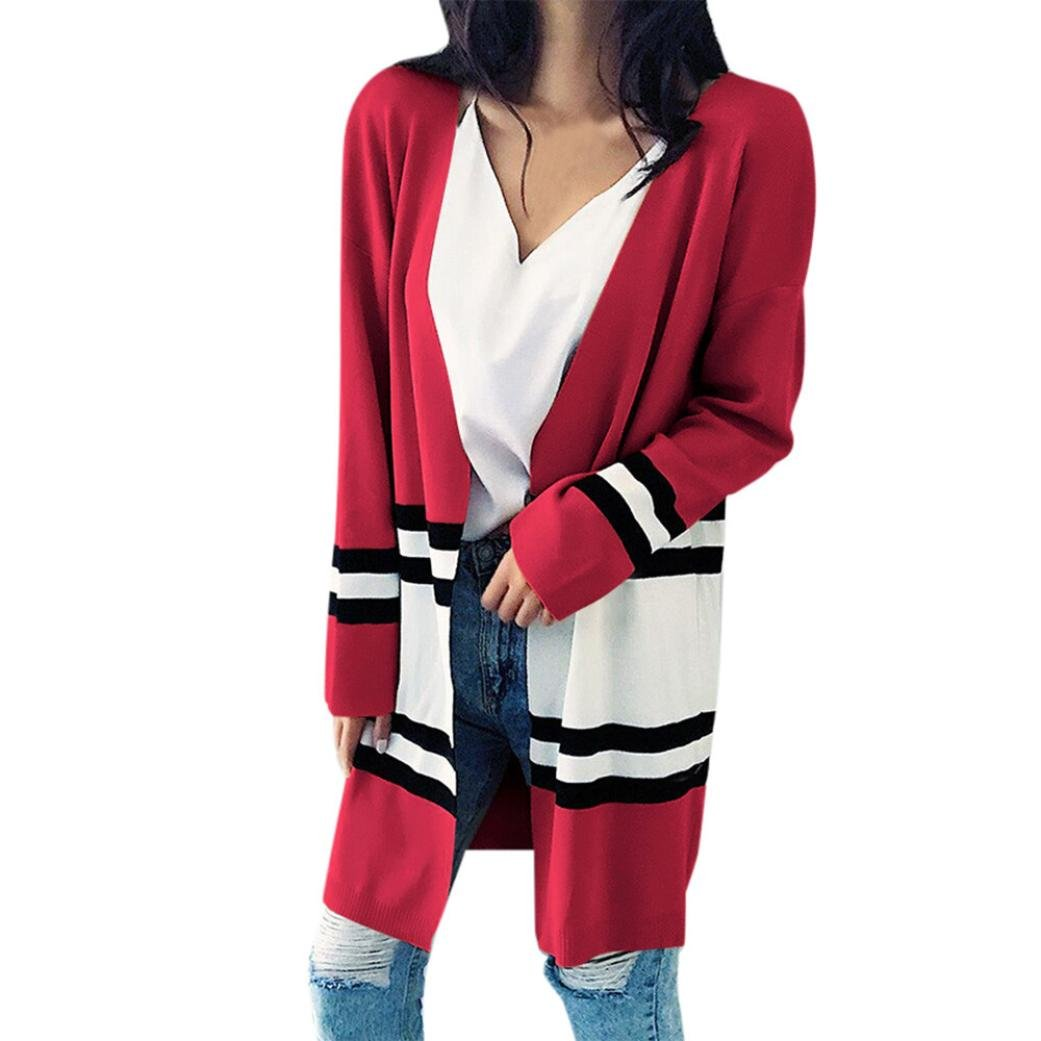 Tsmile Women Cardigan Coat Fashion Autumn Winter Long Sleeve Loose Casual Striped Sweater Red (Red)