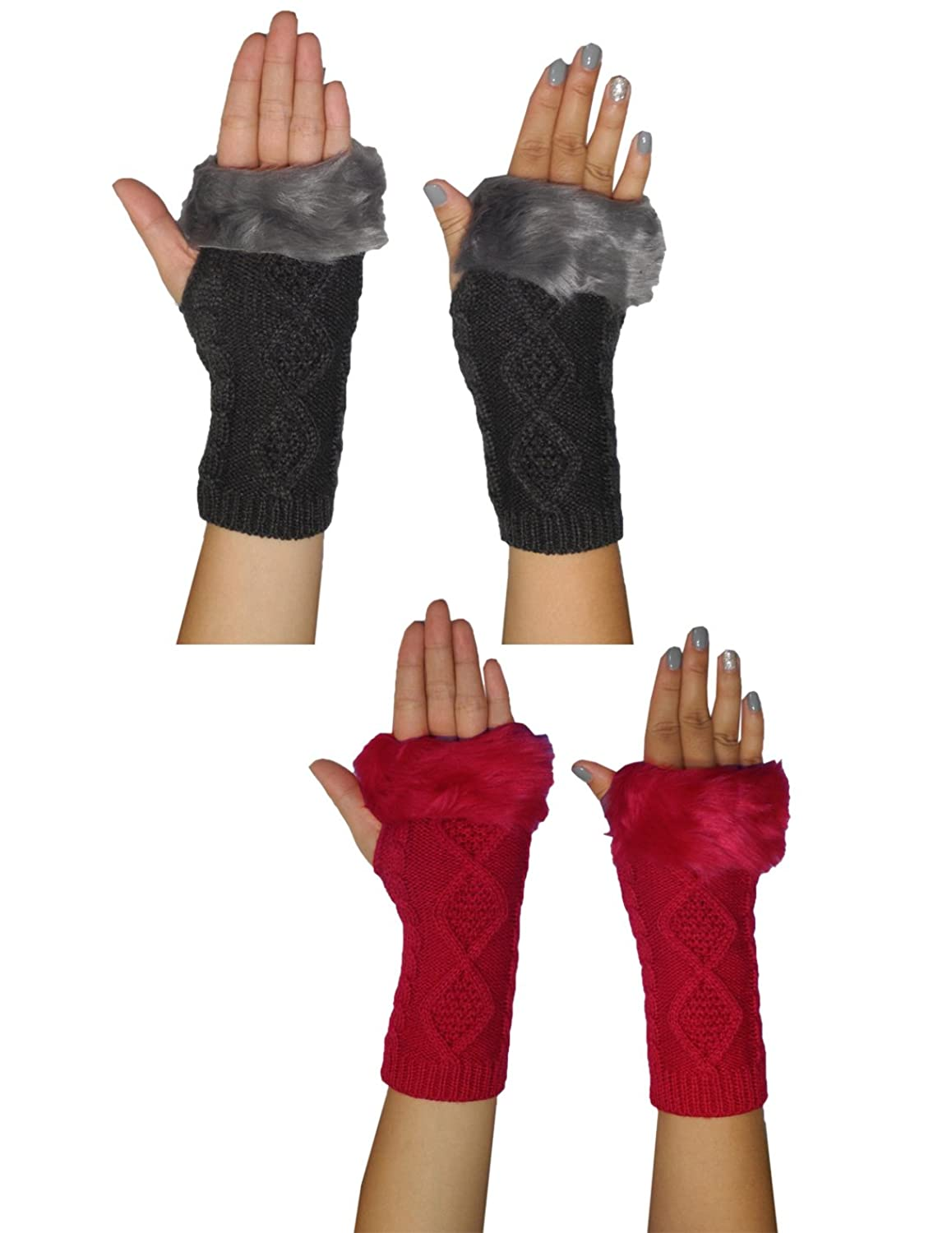 (Pack of 2) Womens Warm Winter Knitted Fingerless Gloves with Fluffy Faux Fur