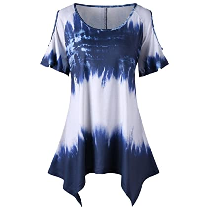 d0ef9f32346c39 Ankola Tie Dyed Print Top,Womens Tie Dye Tunic Shirts Short Sleeves Scoop  Neck Summer