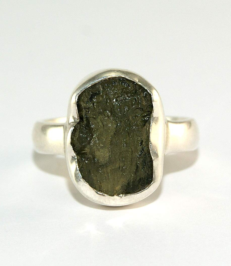 Moldavite Ring - Raw Rough - Polished Sterling Silver - R1802
