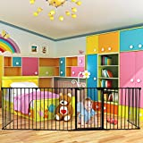 Bonnlo 145-Inch Metal Fireplace Fence Guard 6-Panel Baby Safety Gate/Barrier/Play Yard with Door Christmas Tree Fence Hearth Gate for Kids/Pet/Toddler/Dog/Cat, Black