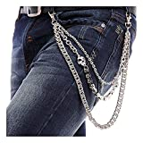 DOCILA Stylish Multi-Row Punk Men's Trousers Key Chain Skull Stud Jean Rock Pants Hiphop Belt Chain