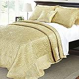 120 Inch King Comforter Serenta Quilted Satin 4 Piece Bedspread Set, King, Gold