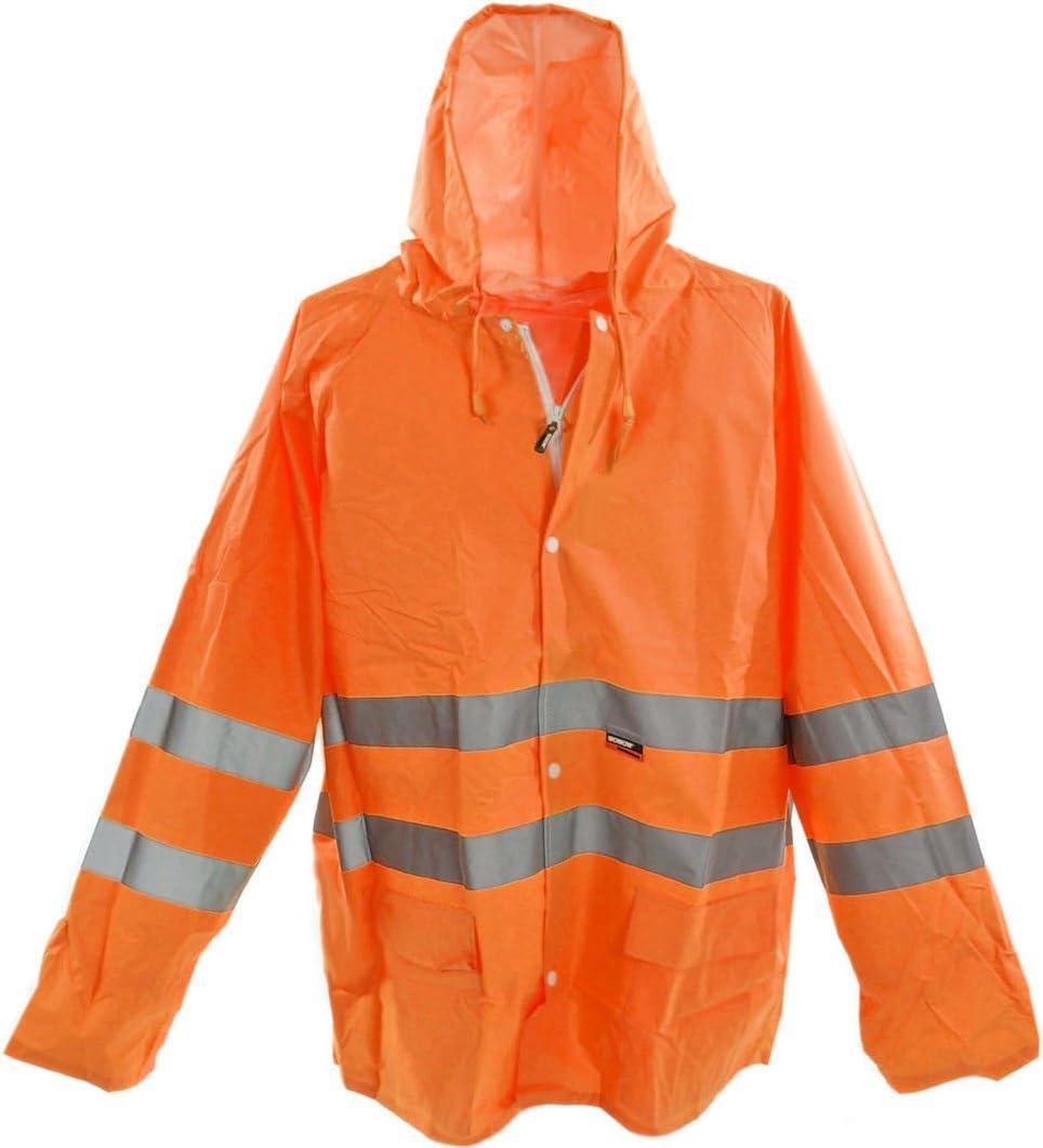 XXL WOWOW QUALITY HI VIZ VIS RAIN COAT JACKET HIGH QUALITY WORKWEAR 100/% WATERPROOF 50/% OFF RRP BE SEEN BE SAFE IN ORANGE