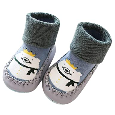 Cute Baby Boys Girls Toddlers Moccasins Cartoon Knitted Non-Skid Indoor Shoes Socks/Slippers