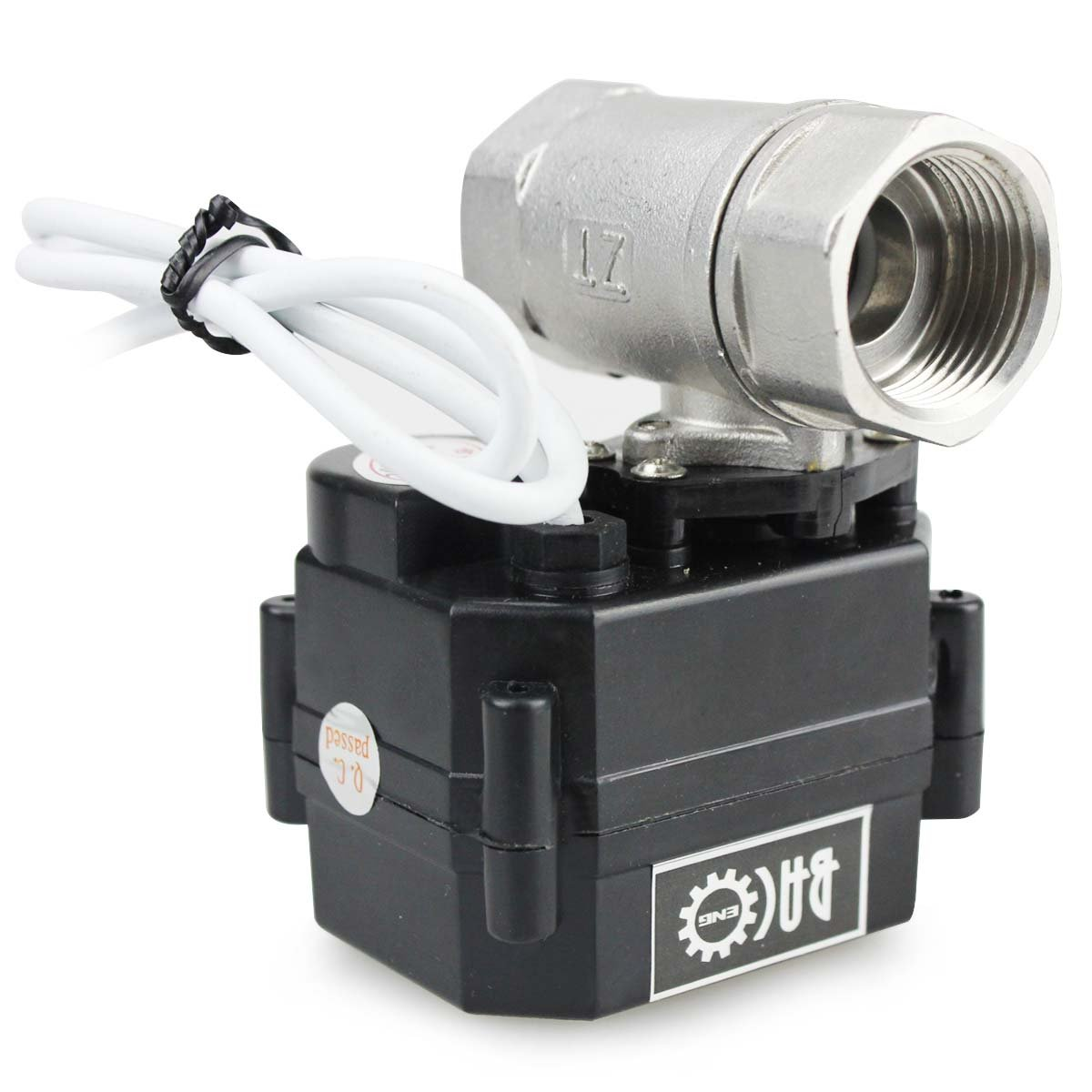 BACOENG 3/4'' DN20 Stainless Steel NPT 2 Port Motorized Valve (AC/DC9-24V CR04 Two Wires Spring Return When Power Off Electric Ball Valve)