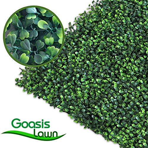 Goasis Lawn Artificial Hedge Boxwood Fence Plant, UV Protected Privacy Screen Outdoor Indoor Use, Garden Fence Backyard Home Decor Greenery Walls, 12 Pack