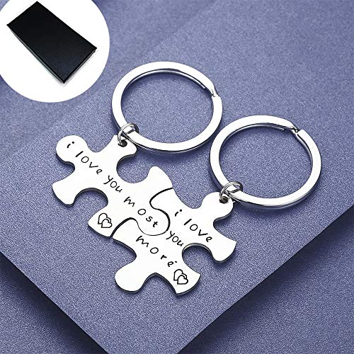 AXEN Key Chain Gift, I Love You More I Love You Most, Couples Keychains Set