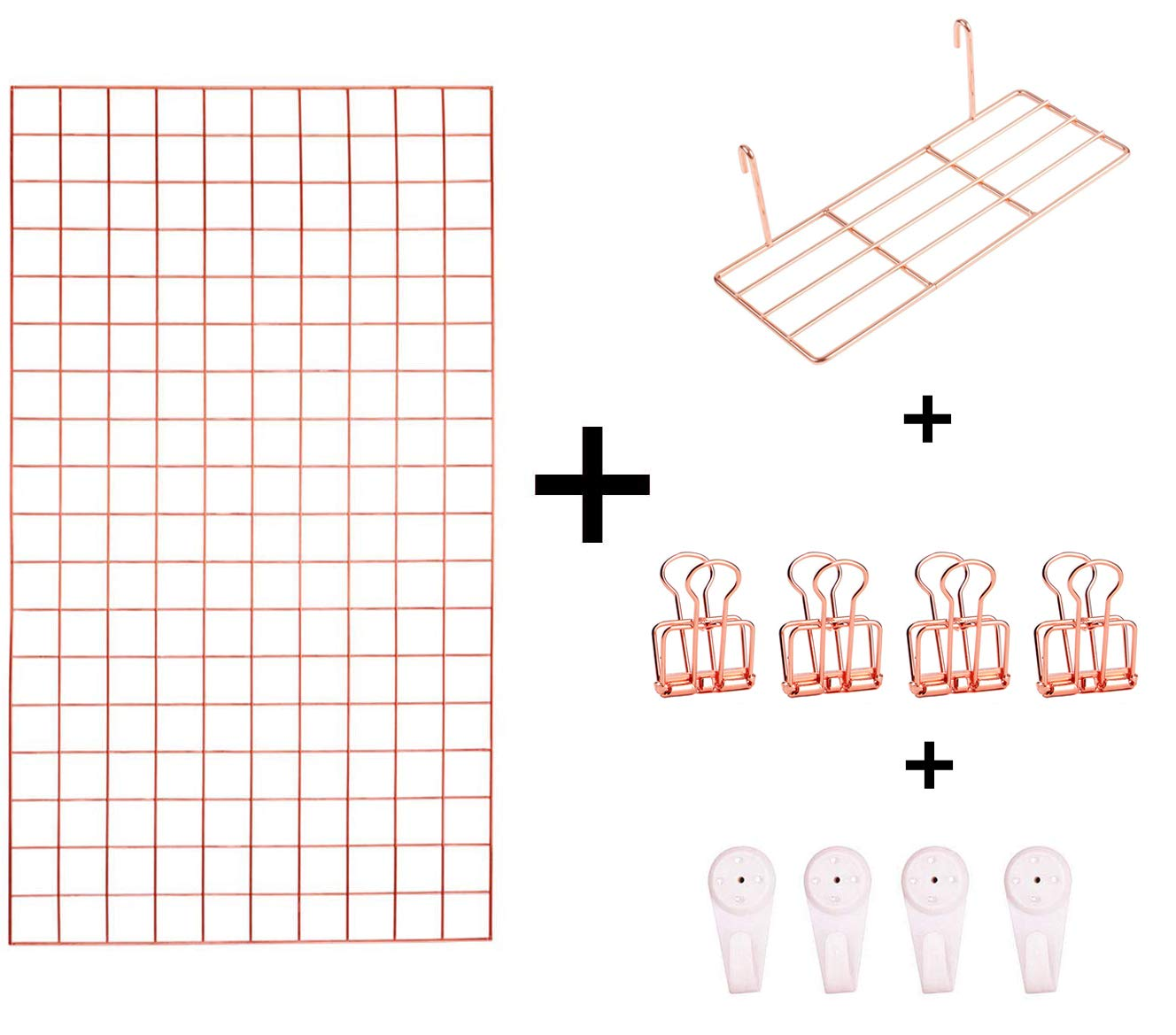 Tiny Smiles Rose Gold Wall Grid Panel   Bonus One Shelf, Clips and Nails   17.7''x 25.6''   Photo Hanging Display & Wall Decoration Organizer, Multi-Functional Wall Storage Display Grid