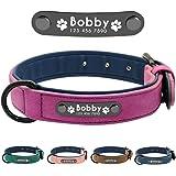 Didog - Collar de piel suave acolchada personalizable para perro, chapa de nombre, anilla en D, collar grabado para…