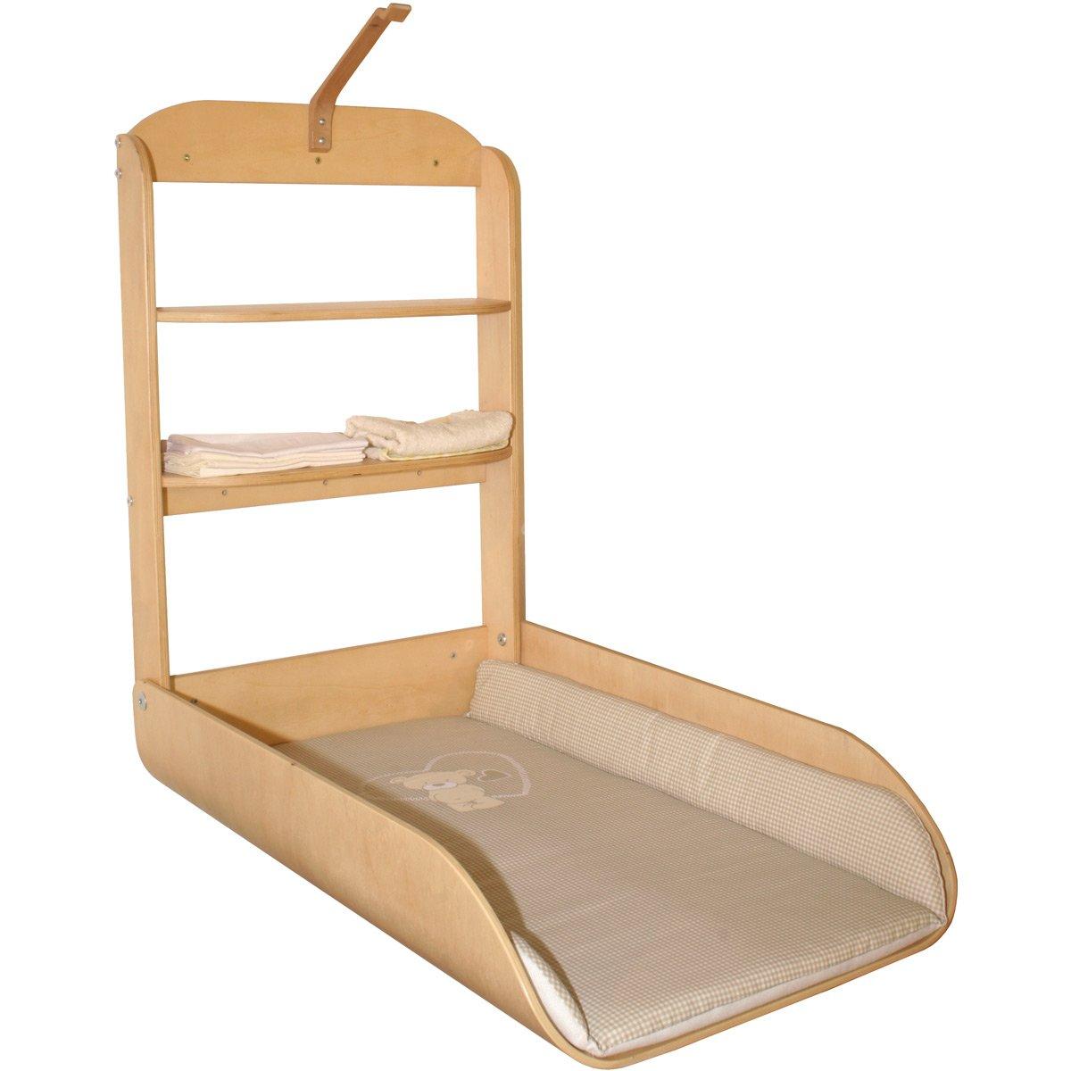 Wand-Wickeltisch aus Holz, praktischer Schnappverschluß, 47x75 cm Liegefläche Liegefläche Liegefläche • Baby klappbar Wandwickelregal Wickelregal e19ade