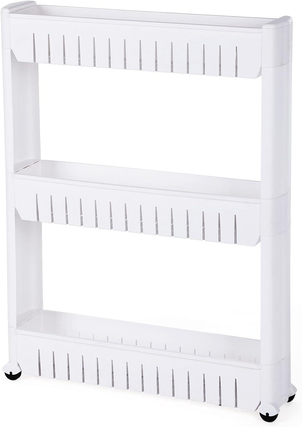 SONGMICS Estante para Hogar y Baño, Carrito de Cocina, Estantería de Cocina, 3 Niveles, 72,5 cm, Blanco KTR03W