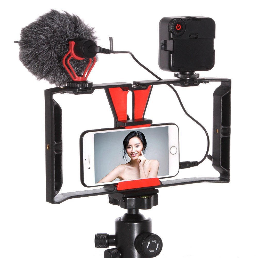 FocusFoto Smartphone Video Rig Camera Cage Mount Holder Stabilizer Handle Grip with BOYA BY-MM1 Shotgun Microphone Mic + 49 LED Light Kit for Mobile Phone iPhone Filmmaking Professional Videomaker by FocusFoto