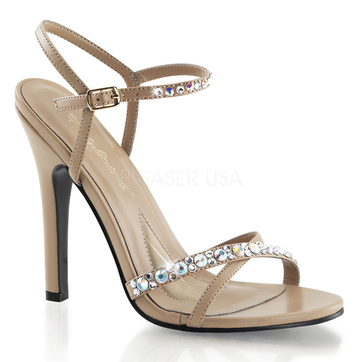 Fabulicious Melody-15 - sexy High Heels Sandaletten Taupe, mit Strass, Taupe, Sandaletten 35-41 Taupe Pu 48686a