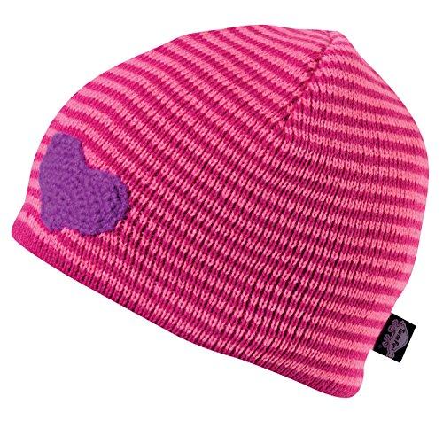 Turtle Fur Cutie Girl's Fleece Lined Striped Knit Heart Beanie Pink -