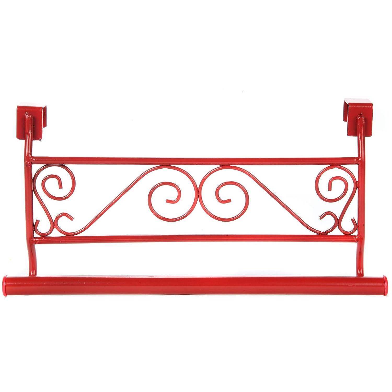 Trenton Gifts Over The Kitchen or Bathroom Cabinet Door Towel Holder Red