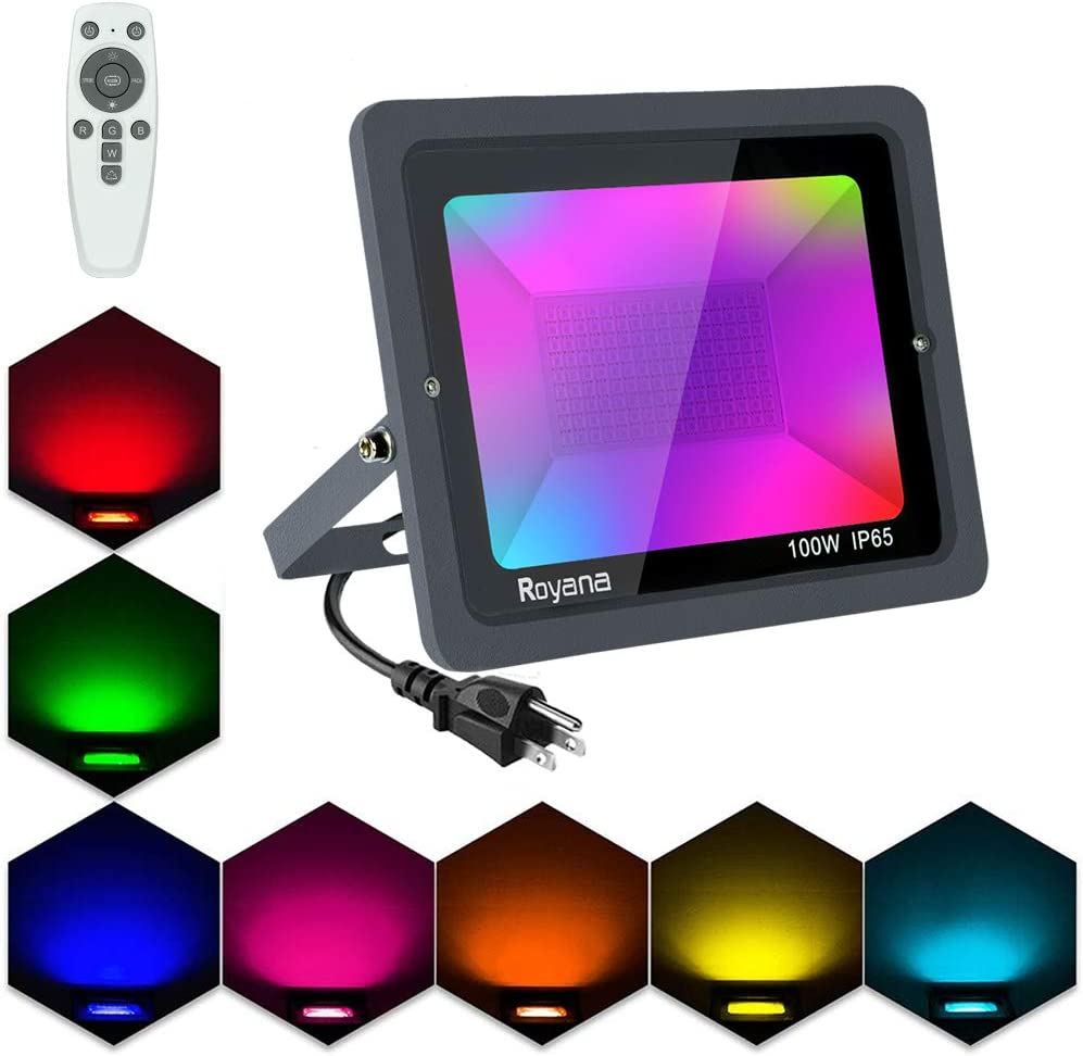 100W RGB LED Flood Lights with Remote Control, Color Changing Floodlight Outdoor, IP65 Dimmable LED Spotlights, 16 Colors 3 Modes Colored Lights Decorative Garden Light for Christmas Halloween Bar