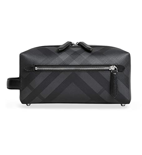 b691dac112d8 Burberry London Signature Check Pouch Wash-Bag Toiletry Travel Case Charcoal