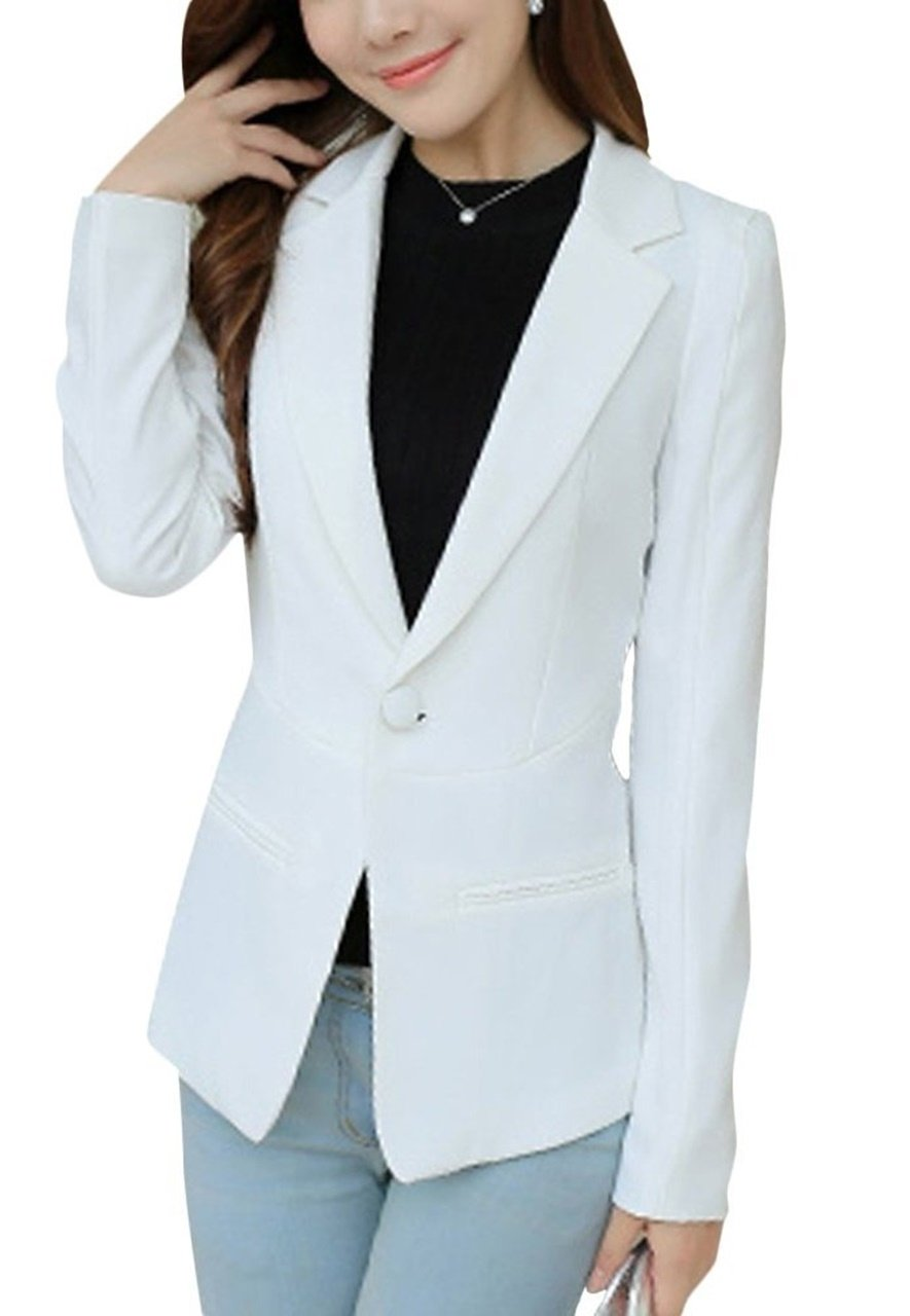 ten is heart tailored jacket Ladies casual office suits formal blazer clothes(extralarge, white) place occasion for tops sleeve styles clothing separates fall piece relaxed unique soft club collarless by ten is heart
