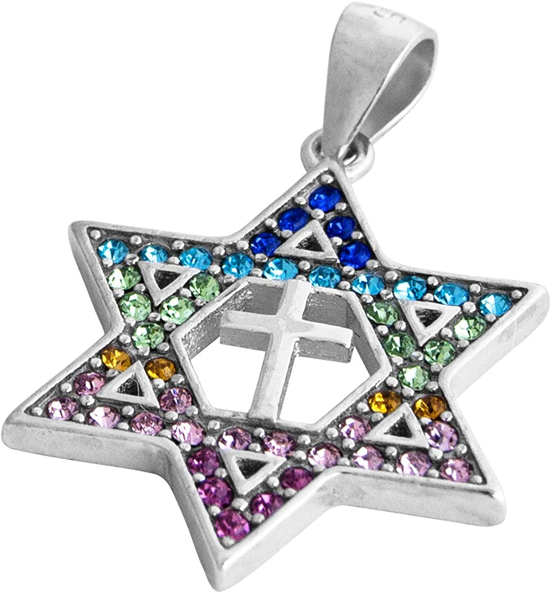 Israel Jewish Messianic Gift Silver 925 GRAFTED IN MESSIANIC Pendant With Zircons