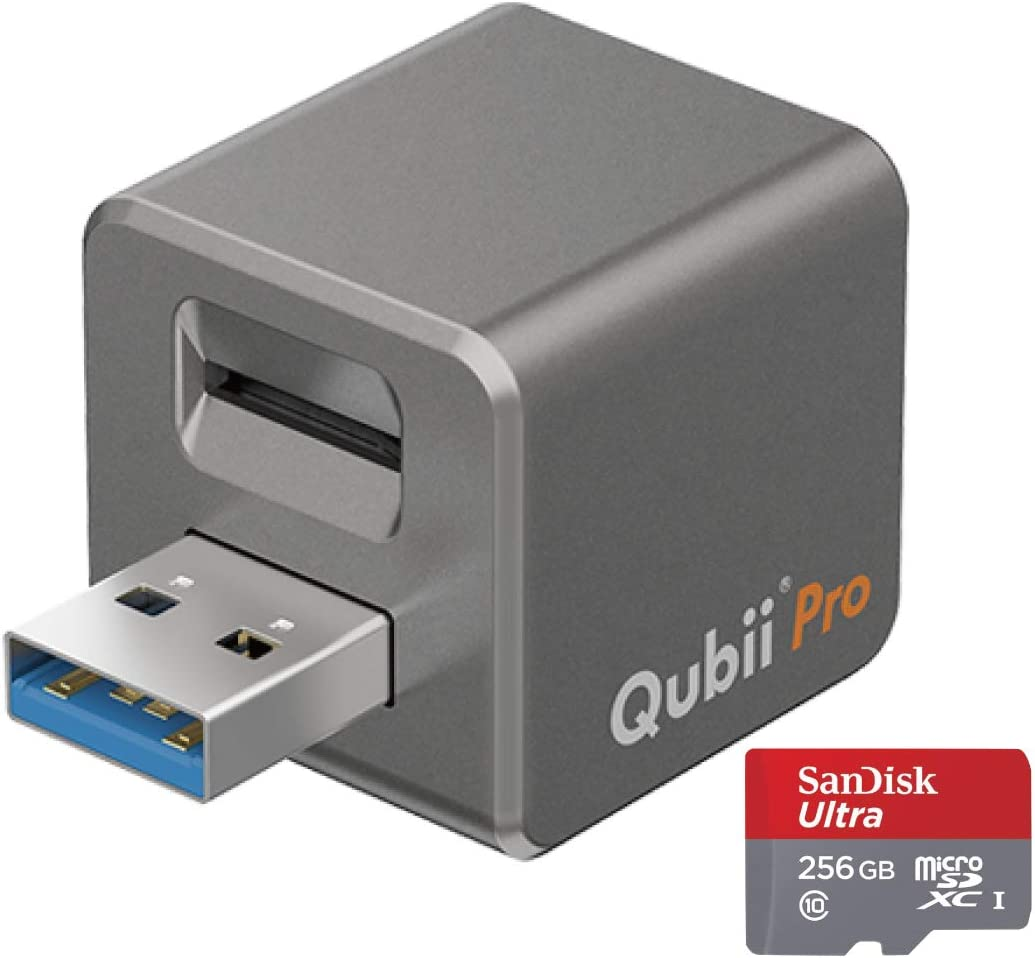Qubii Pro Photo Storage Device for iPhone & iPad, Auto Backup Photos & Videos, Photo Stick for iPhone【256GB - Space Gray】