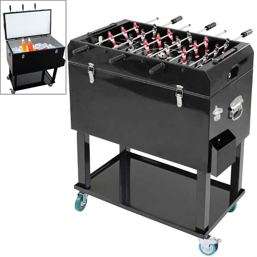ZTPOWER 68 Quart Patio Cooler Ice Chest with Foosball Table Top 17 Gallon 65L Outdoor Rolling Beverage Cart Foosball Cooler Cart (65 Quart, Black)