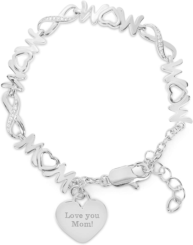925 Sterling Silver Polished Infinity w//Dangle Mother Disc Bangle Bracelet