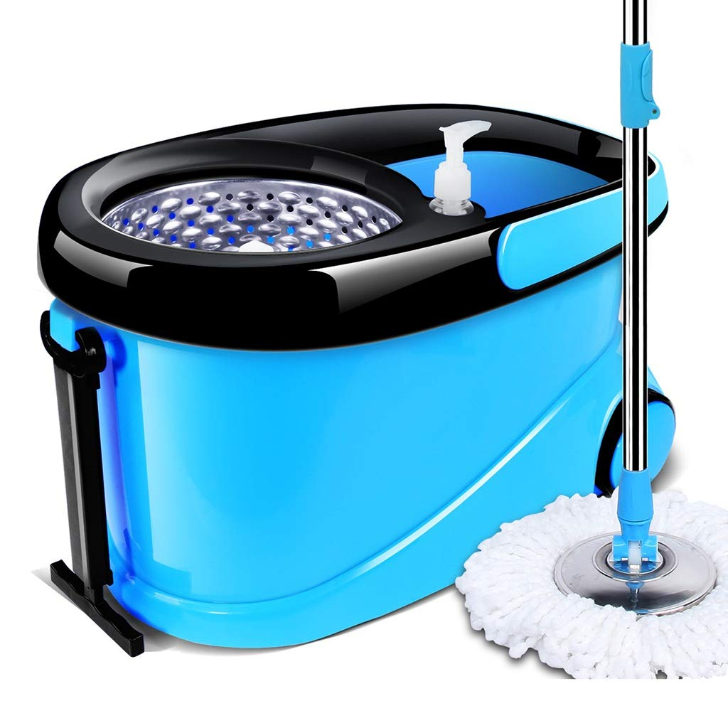 フロアモップワイパー 回転モップ、360°回転モップヘッド、ハンドフリー洗濯、洗濯と乾燥、(マイクロファイバー) B07L61VXWC