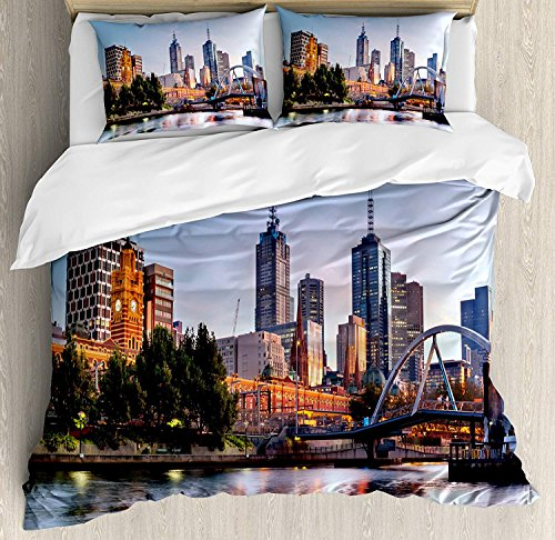 4 Piece King Size Duvet Cover Set,City Early Morning Scenery Melbourne Australia Famous Yarra River,Bedding Set Luxury Bedspread(Flat Sheet Quilt and 2 Pillow Cases for Kids/Adults/Teens/Childrens for $<!--$129.99-->