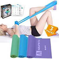 A AZURELIFE Resistance Bands Set, 3 Pack Professional Non-Latex 5 ft. Long Elastic Stretch Bands, 3 Color-Coded Progressive Exercise Bands for Physical Therapy, Yoga, Pilates, Rehab, Home Workout