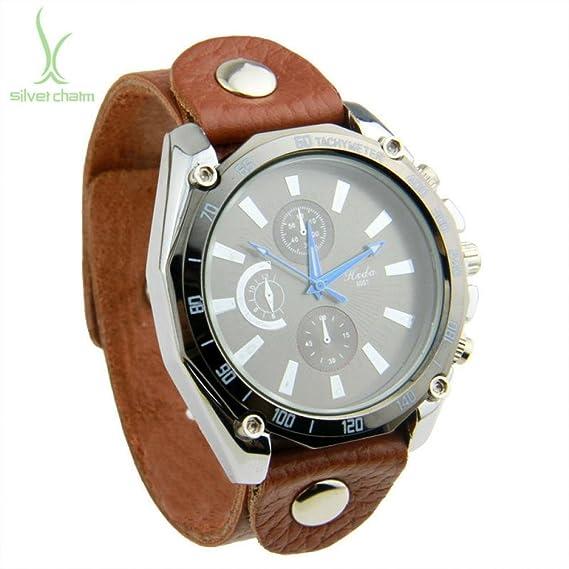 Regalo los Aliexpress Hot Beauty 2013 perro Spaniel marrón de patinete reloj tira de piel para hombre reloj Unisex de cuarzo capa superior Pi0546: ...