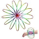 Amazing Magic Flow Rings Kinetic Educational Spring Toy Funny Outdoor Game Intelligent Relax 3D Kinetic Ring Spring Bracelet Stainless Metal Galactic Globe Toy Fit for Kids Boys Girl Adults (Rainbow)