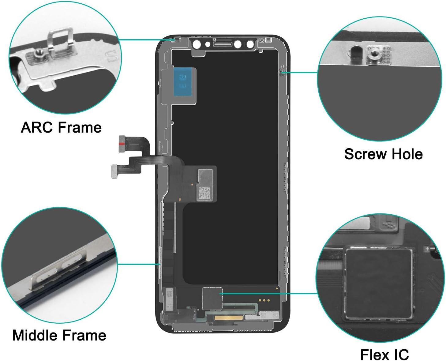 Pas pour X//XR Beefix Ecran pour iPhone XS Noir 5.8 LCD /Écran Tactile Digitizer Assembly avec Kit De R/éparation Complet et Protecteur D/écran