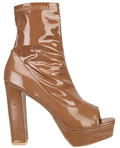 f2b0169ad47 Image Unavailable. Image not available for. Color  Mocha Peep Toe Chunky  Heel Platform Booties Patent ...