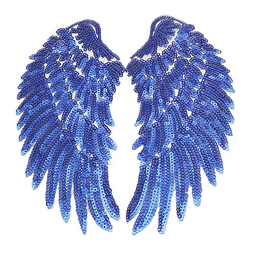 Dandan DIY 1 Pair Colorfull Macaw Sequins Angel Wings Sew on/Iron On Patch DIY Embroidered Applique Bling Wings for Jackets Cloth Decoration Valentine's Day Gifts (Blue, ()