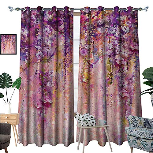Flower Blackout Window Curtain Watercolor Painting Effect Wisteria Tree Blossoms Soft Scenic Spring Display Customized Curtains W96 x L108 Pink Violet Purple