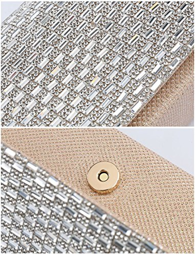 Party Ladies Diamante with London Silver Bags Glitter Clutch Clutch Womens Party Prom bags Silver Sparkling Craze Wedding New aZqqzP