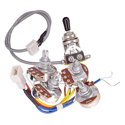 MagiDeal Guitarra Circuito Cable Kit Control de Volumen de Tono A500K B500K Potes Interruptor para LP