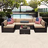 PATIOROMA Outdoor Patio Furniture Set, 7-Piece Sectional Sofa Set All-Weather Brown Wicker Furniture with Beige Cushions,Glass Coffee Table & Single Sofa Chair Review
