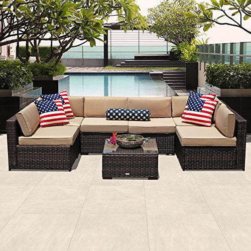 PATIOROMA Outdoor Patio Furniture Set, 7-Piece Sectional Sofa Set All-Weather Brown Wicker Furniture with Beige Cushions,Glass Coffee Table & Single Sofa Chair