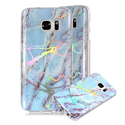 new style f0273 18191 Marble Phone Case for Samsung Galaxy S7,Cover for Galaxy S7,Fashion Glossy  Hybrid Marble Texture Personalised Pattern Design Soft Shockproof Fantasy  ...