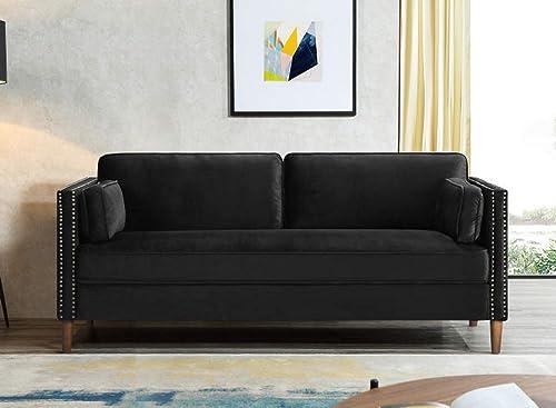 Rhomtree Velvet Sofa Couch Mid Century Upholstered Loveseat Lounger Living Room Couch 73 inch