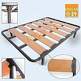 Somier Somieres lama ancha reforzada con tacos anti-ruido y patas cilíndricas, tubo 40x30. Fabricación Nacional-135x190cm-PATAS 26CM