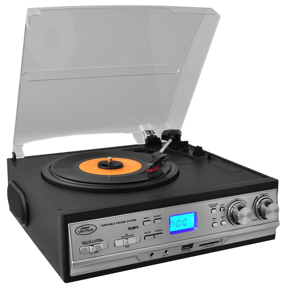 bose turntable. pyle pttcs9u classic retro turntable with am fm radio/cassette usb/sd direct record bose n
