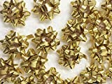 PEPPERLONELY Brand 20PC Peel & Stick 1-1/4' Metallic Gold Mini Star Confetti Bows Christmas Gift Wrap Bows