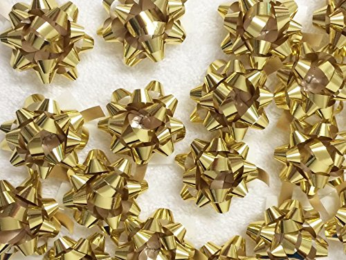 PEPPERLONELY Brand 20PC Peel & Stick 1-1/4'' Metallic Gold Mini Star Confetti Bows Christmas Gift Wrap Bows by PEPPERLONELY